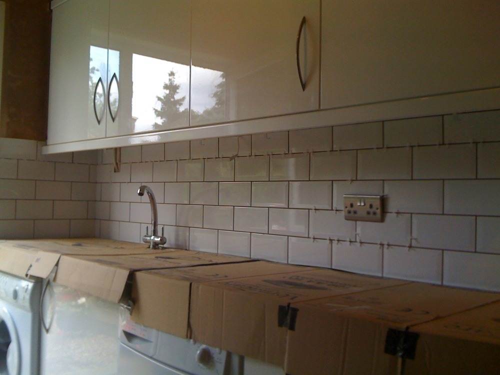 Brick tiles bricks and tile on pinterest - White kitchen brick tiles ...