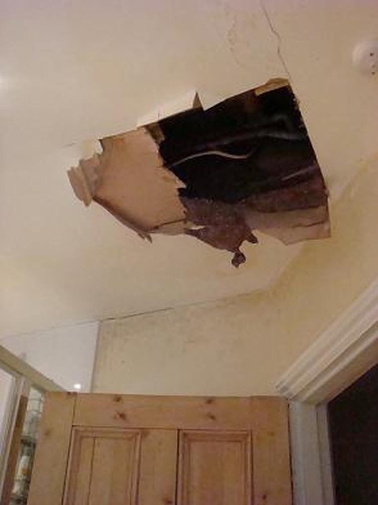 bathroom ceiling repair plastering job in fulham south