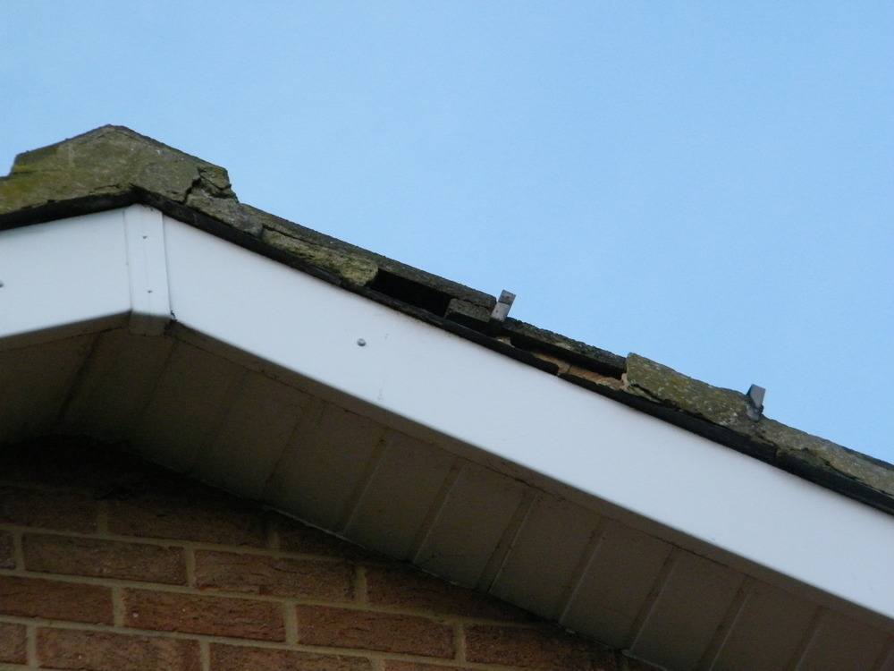 Repairing mortar on gable end roofing job in darlington county