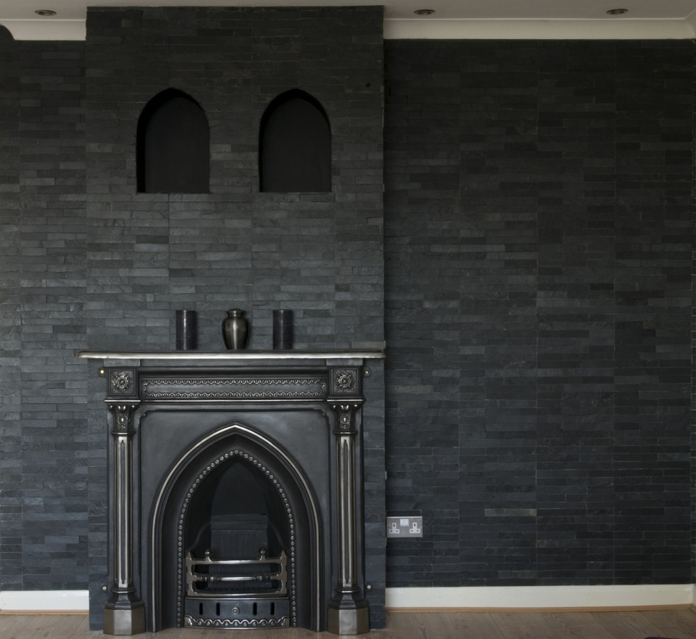 in it and tiled wall with slate tiles and plastered inside the arches