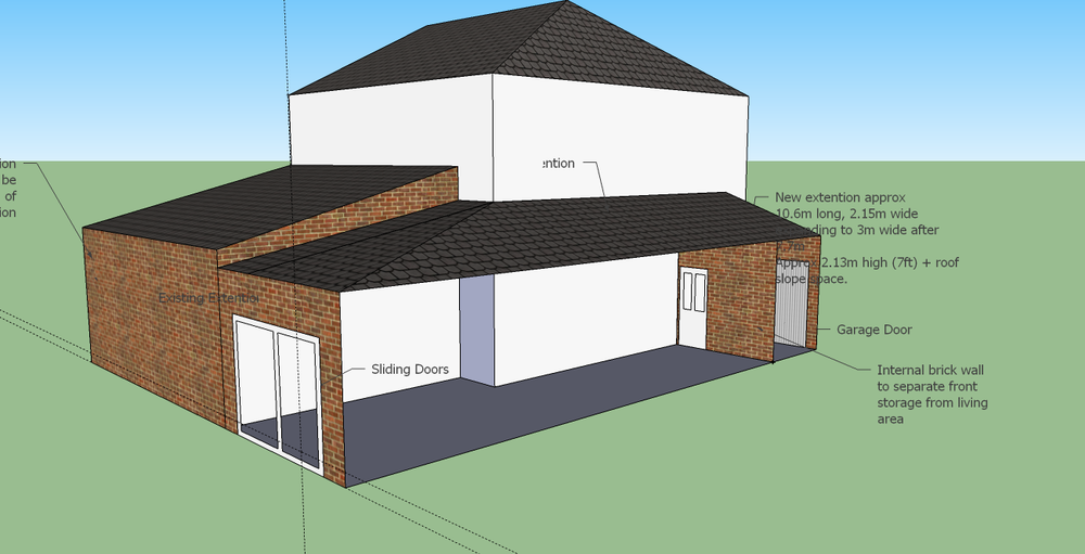 Win a new bathroom - Single Storey Side Extension With Sloped Roof 10x2m