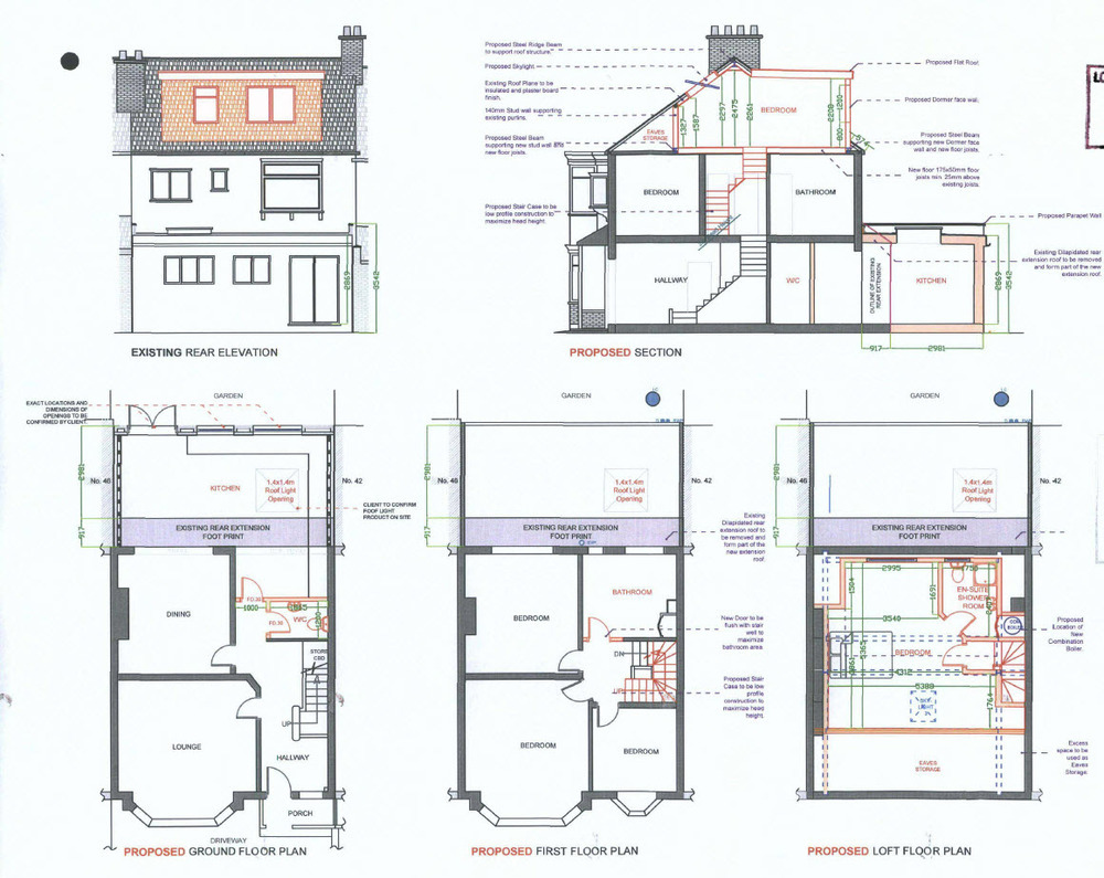 Kitchen extension drawings for House extension drawings