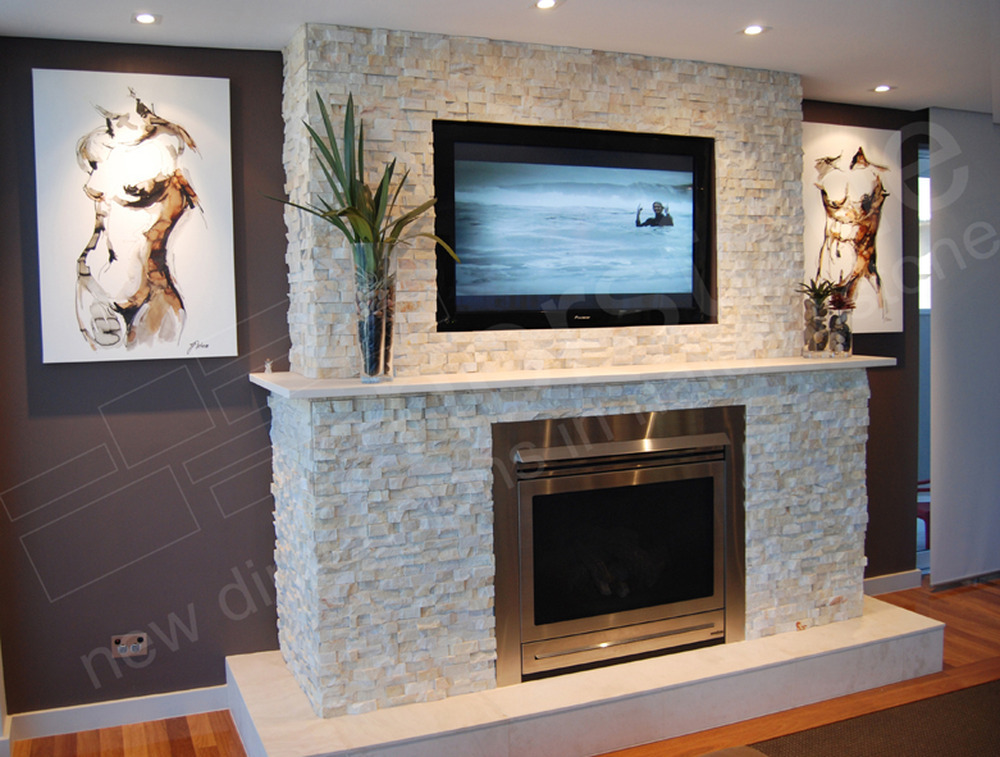 Feature wall for fire place using stone cladding for Fireplace wall