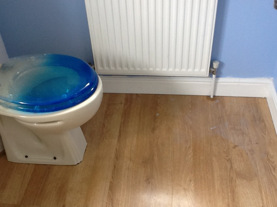 Vinyl floor fitted to small bathroom flooring job in for Vinyl flooring bathroom