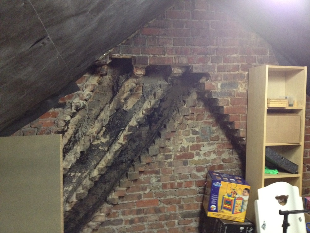 Work To Fix Unsupported Chimney Stack Bricklaying Job In