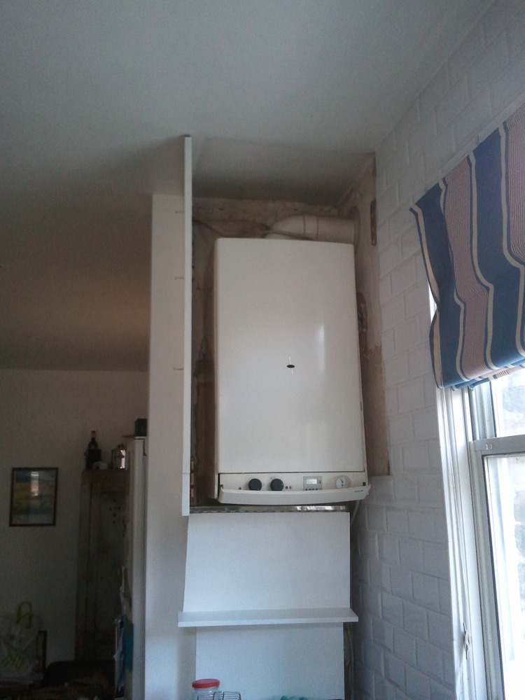Combi boiler supply and install gas hob installation for Kitchen boiler housing unit