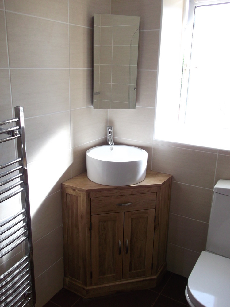 Corner Sink And Toilet Unit : Ian, Livingston,Full bathroom refit.wooden,corner vanity unit, bowl ...