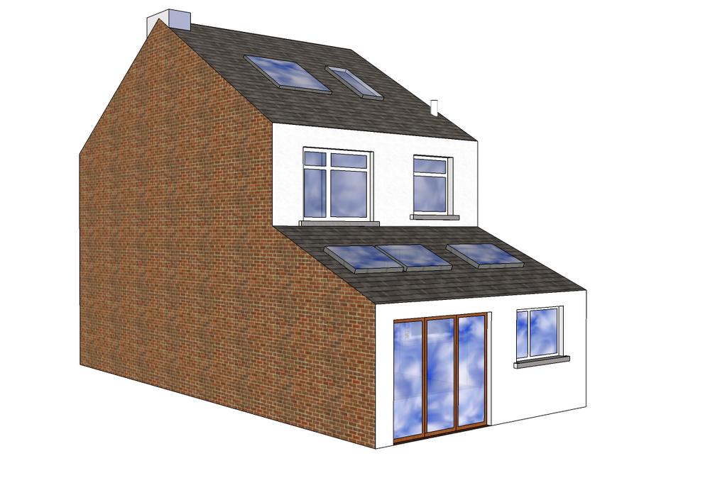 Single storey mid terrace extension 5m40 w x 3m d for Terrace extension