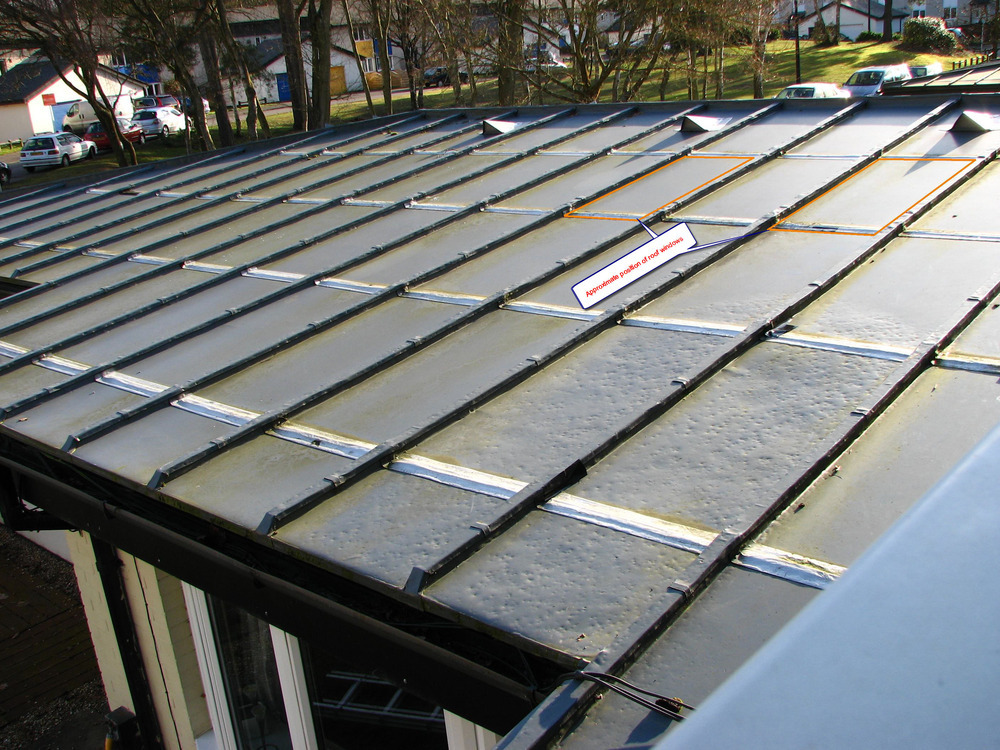 Install 2 X Roof Windows Onto Low Pitch Zinc Roof