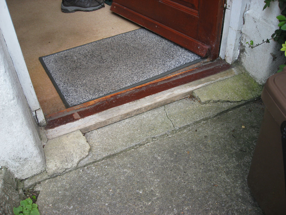 Repair replace front door threshold carpentry joinery - How to replace exterior door sill ...
